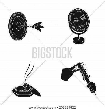 Game Darts, reflection in the mirror and other  icon in black style. Cigar in ashtray, calipers in hands icons in set collection.