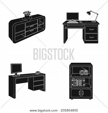 A shelf with a flower, a desk with a computer and a lamp, a table with a monitor and a book, a cabinet with documents and a radio.Furniture and interior set collection icons in black style isometric vector symbol stock illustration .