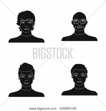 The appearance of the young guy, the face of a bald man with a mustache in his glasses. Face and appearance set collection icons in black style vector symbol stock illustration .