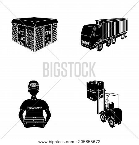 Truck, courier for delivery of pizza, forklift, storage room. Logistics and delivery set collection icons in black style isometric vector symbol stock illustration .