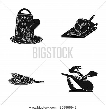 treat, appliance, tool and other  icon in bleack style.cook, housewife, hands icons in set collection.