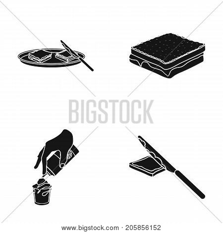 Dessert with cream, a sandwich and other food. Food set collection icons in black style vector symbol stock illustration .