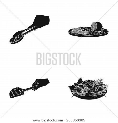 Tongs with steak, fried meat on a scoop, slicing lemon and olives, shish kebab on a plate with vegetables. Food and Cooking set collection icons in black style vector symbol stock illustration .