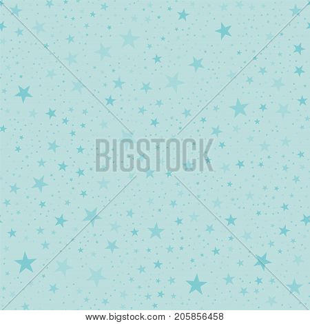 Turquoise Stars Seamless Pattern On Light Blue Background. Exquisite Endless Random Scattered Turquo