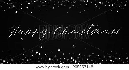 Happy Christmas Greeting Card. Random Falling Stars Background. Random Falling Stars On Red Backgrou