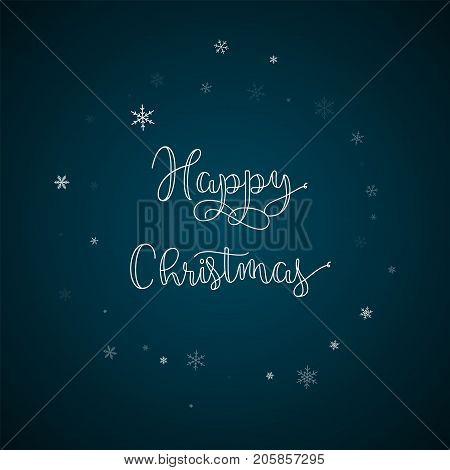 Happy Christmas Greeting Card. Sparse Snowfall Background. Sparse Snowfall On Blue Background.great