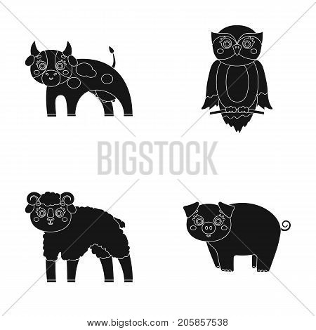 Forest, ecology, toys and other  icon in black style.Animals, farm, enterprises icons in set collection.