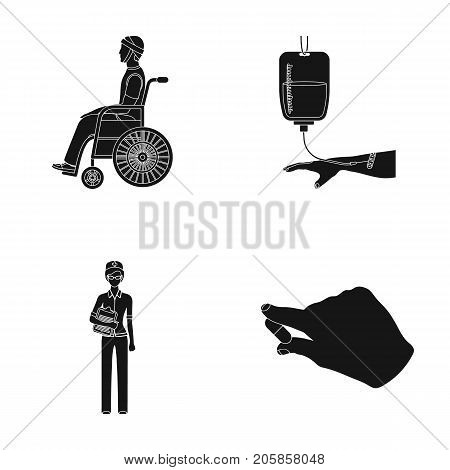 Invalid with trauma, blood transfusion, doctor, medication in the hands of a doctor. Medicineset collection icons in black style vector symbol stock illustration .