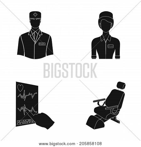 The attending physician, the nurse, the cardiogram of the heart, the dental chair. Medicineset collection icons in black style vector symbol stock illustration .