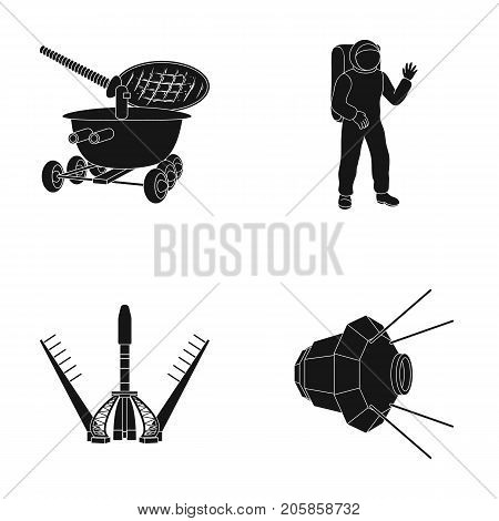 Lunokhod, space suit, rocket launch, artificial Earth satellite. Space technology set collection icons in black style vector symbol stock illustration .