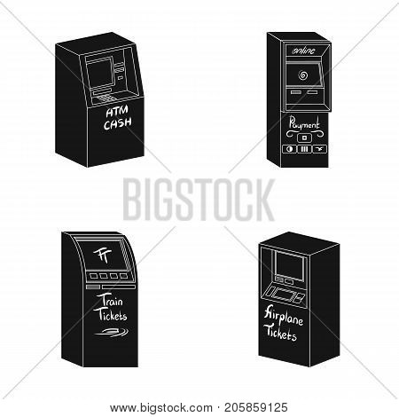 Cash machine for cash, terminal for payment, ticket machine. Terminals set collection icons in black style isometric vector symbol stock illustration .