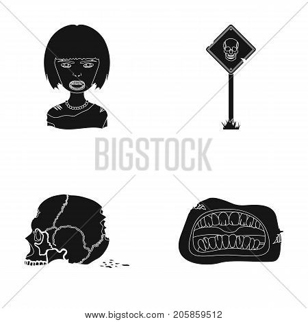 Apocalypse, Halloween, blood, and other  icon in black style., Mouth, teeth, skin icons in set collection.