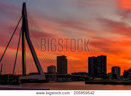 Rotterdam city cityscape with Erasmus bridge at sunset. South Holland, Netherlands.