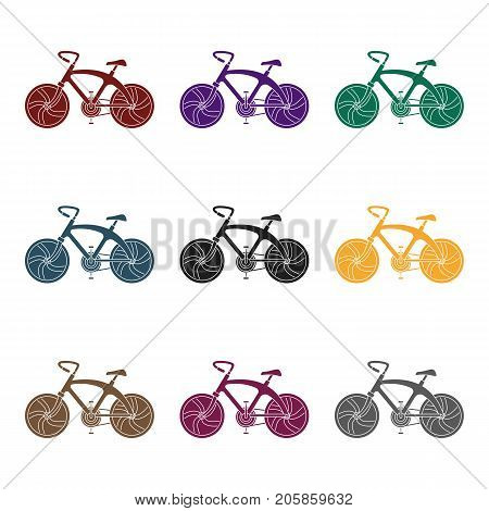 A sports bike for a quick ride down the road. Bicycle ecological economical transport.Transport single icon in black style vector symbol stock web illustration.