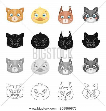 Different species of animals, cat muzzle, ducks, squirrels and raccoons. Animal muzzle set collection icons in cartoon black monochrome outline style vector symbol stock illustration .