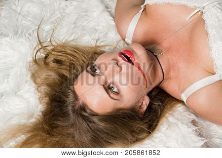 Lifeless Woman Lying On The Floor