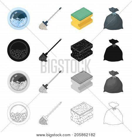 Window washing machine, mop, cleaning sponge, package with garbage. Cleaning set collection icons in cartoon black monochrome outline style vector symbol stock illustration .
