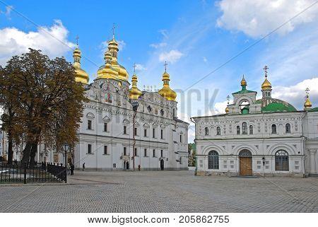 Kiev-Pechersk Lavra, Usrenskiy Cathedral,  Kiev, Ukraine against the blue sky