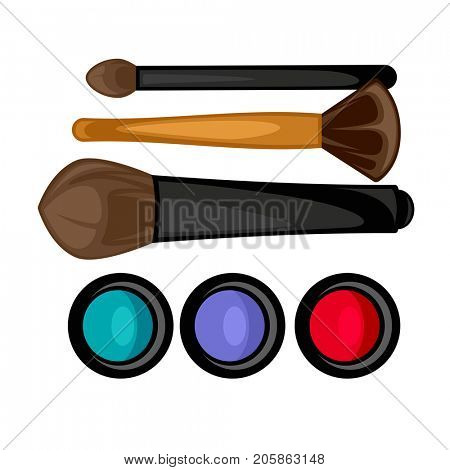 Colored pallets with eye shadows, brushes for eye makeup
