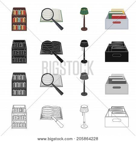 A book and a magnifying glass, a shelf with books in the library, a floor lamp, a box with folders. Library set collection icons in cartoon black monochrome outline style vector symbol stock illustration .