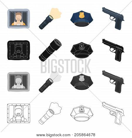 A criminal in prison, a flashlight, a police cap, a pistol. Police set collection icons in cartoon black monochrome outline style vector symbol stock illustration .
