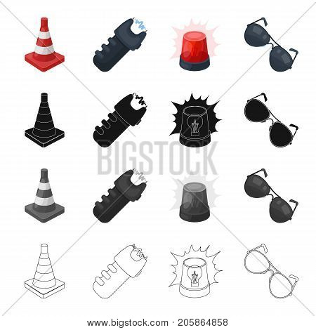 Restrictive cone, electric shock, police flasher, sunglasses. Police set collection icons in cartoon black monochrome outline style vector symbol stock illustration .