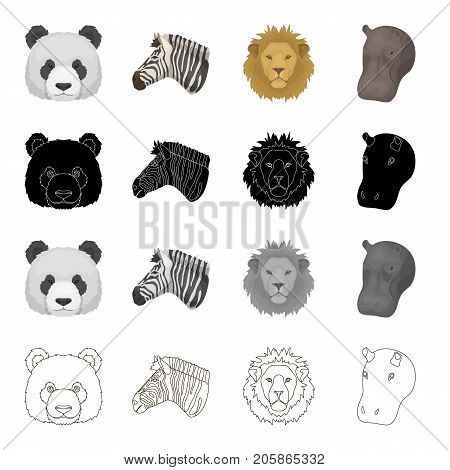 Wild animal panda, zebra, lion, hippopotamus. Realistic animal set collection icons in cartoon black monochrome outline style vector symbol stock illustration .