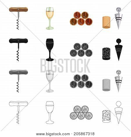 Corkscrew, a glass of wine, wine barrels, cork and corkscrew. Wine-making set collection icons in cartoon black monochrome outline style vector symbol stock illustration .
