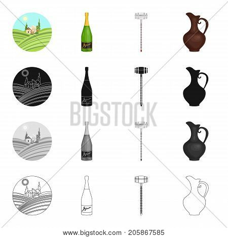 Grape valley, a bottle of champagne, a jug for wine, an alcoholometer. Wine-making set collection icons in cartoon black monochrome outline style vector symbol stock illustration .