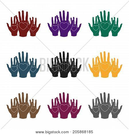 Hands up with hearts icon in black design isolated on white background. Charity and donation symbol stock vector illustration.