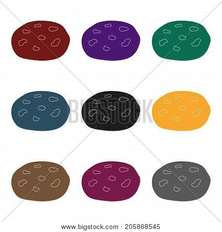 Chocolate chip cookies icon in black design isolated on white background. Chocolate desserts symbol stock vector illustration.