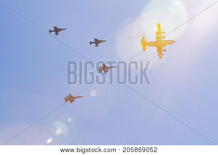 Aerial Refueling Simulation From A Kc-130 Hercules At The Miramar Air Show