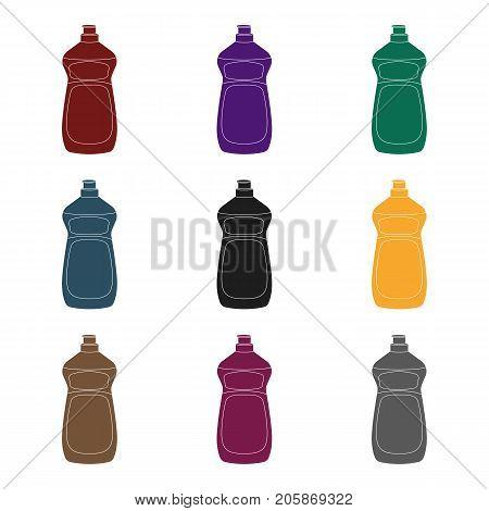 Dishwashing soap icon in black design isolated on white background. Cleaning symbol stock vector illustration.