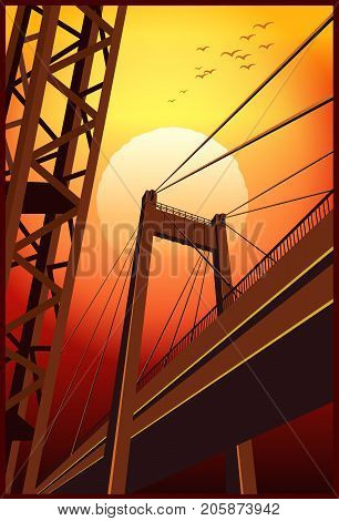 Stylized vector illustration of a city industrial landscape. Bridge and metal trusses at sunset