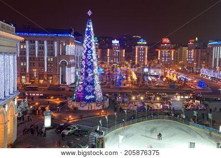 KIEV UKRAINE - January 6 2010: Last ice rink on the Maidan in Kiev for 4 years before the revolution in 2014