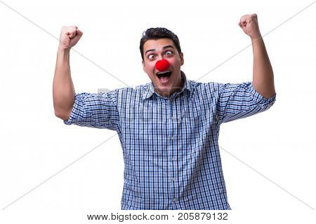 Funny man clown isolated on white background