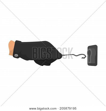 Lockpick in the hand of the criminal. Latchkey, thief tool, crime single icon in cartoon style vector symbol stock illustration .