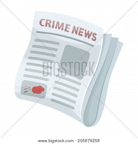 Newspaper crime news.Crime article in the press single icon in cartoon style vector symbol stock illustration .