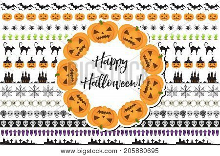 Halloween set of holiday borders decorations. Collection border of elements for your design. Isolated on white background. Vector illustration