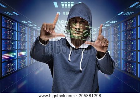 Hacker hacking corporate computer system