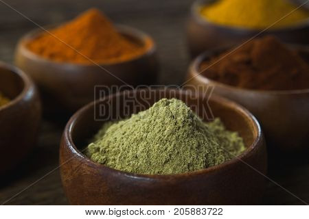 Close-up of various spice powder in wooden bowl