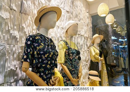 BUSAN, SOUTH KOREA - MAY 28, 2017: mannequins at TWEE store at Lotte Department Store