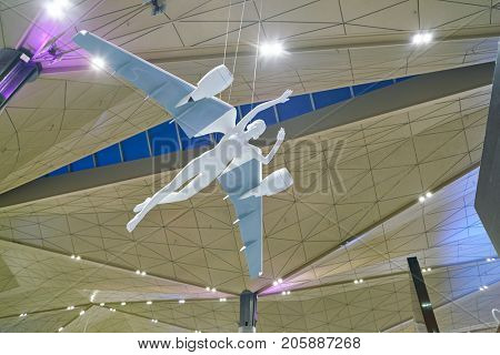 SAINT PETERSBURG, RUSSIA - CIRCA AUGUST, 2017: sculpture in Pulkovo International Airport. Sculptures created by artist Dmitry Shorin represent girls with the plane's wings ingrown into their backs.