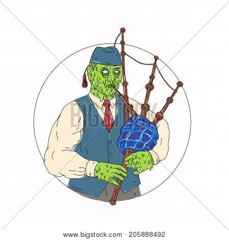 Grime art style illustration of a Zombie Piper Playing Bagpipes  viewed from front set inside circle on isolated background.