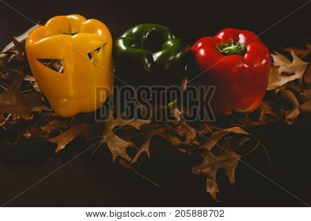 High angle view of carved bell peppers with autumn leaves over black background