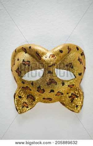 Upside down image of mask over white background