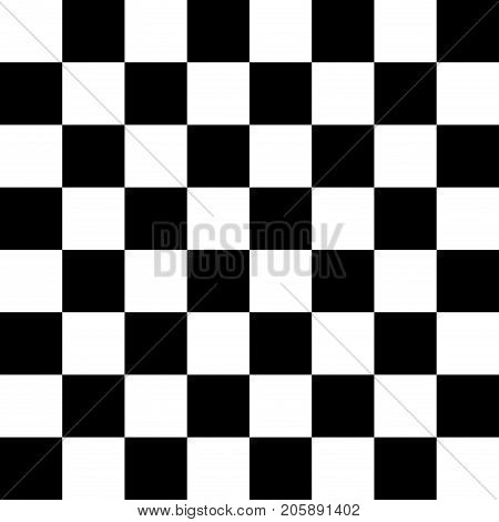 Chessboard or checker board seamless pattern in black and white. Checkered board for chess or checkers game. Strategy game concept. Checkerboard background.