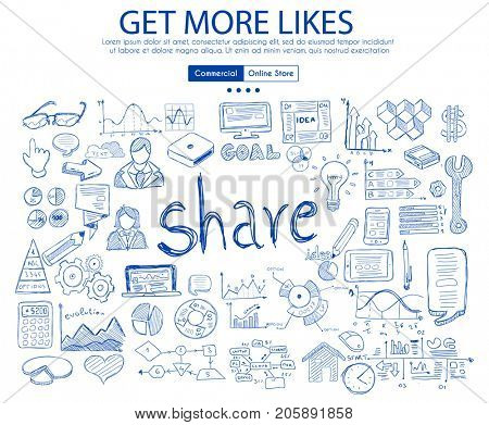 Get More Likes social media concept with Business Doodle design style: online studies, sharing solutions ,post timing. Modern style illustration for web banners, brochure and flyers.