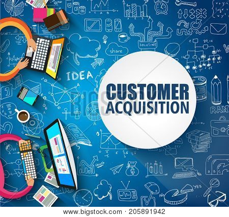 Customer Acquisition concept with Doodle design style:people inteview, shop testing, clear selection. Modern style illustration for web banners, brochure and flyers.