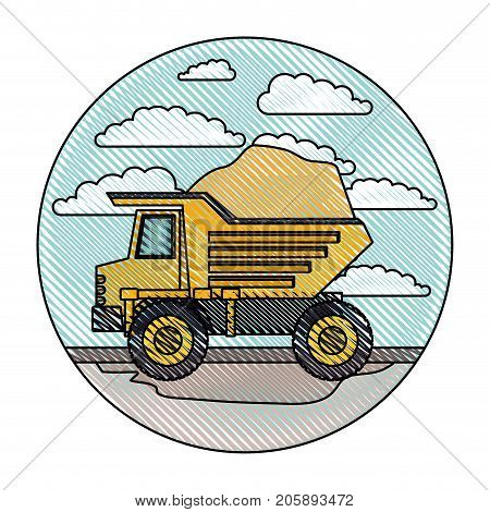 dump truck in circular frame with cloud landscape on color crayon silhouette vector illustration